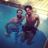 Joey Maalouf and Justin Coit took a dip in the pool.  Source: Instagram user rachelzoe