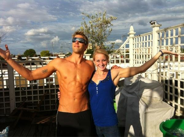 Matt Grevers worked on his tan in London. Source: Twitter user MattGrevers
