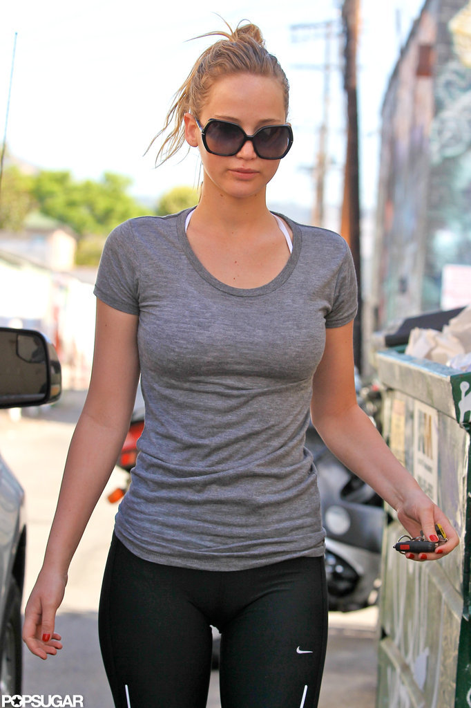 Jennifer Lawrence wore sunglasses into the gym in LA.