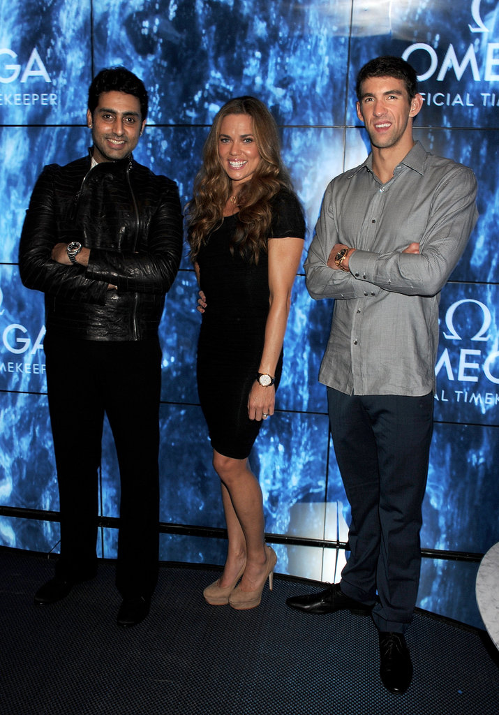 Michael Phelps posed with Natalie Coughlin and Abhishek Bachchan at a Spotlight on Swimming party in London.