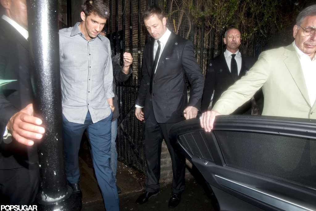 Michael Phelps got into a car after leaving a party in London.