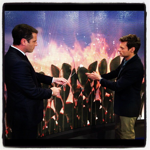 Ryan Seacrest pretended to roast some marshmallows in front of the Olympic flame.Source: Instagram user ryanseacrest
