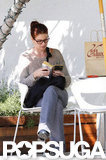 Debra Messing did prep work for her new series by reading Smash in LA in April 2011.