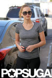 Jennifer Lawrence wore sunglasses and a gray t-shirt to the gym.