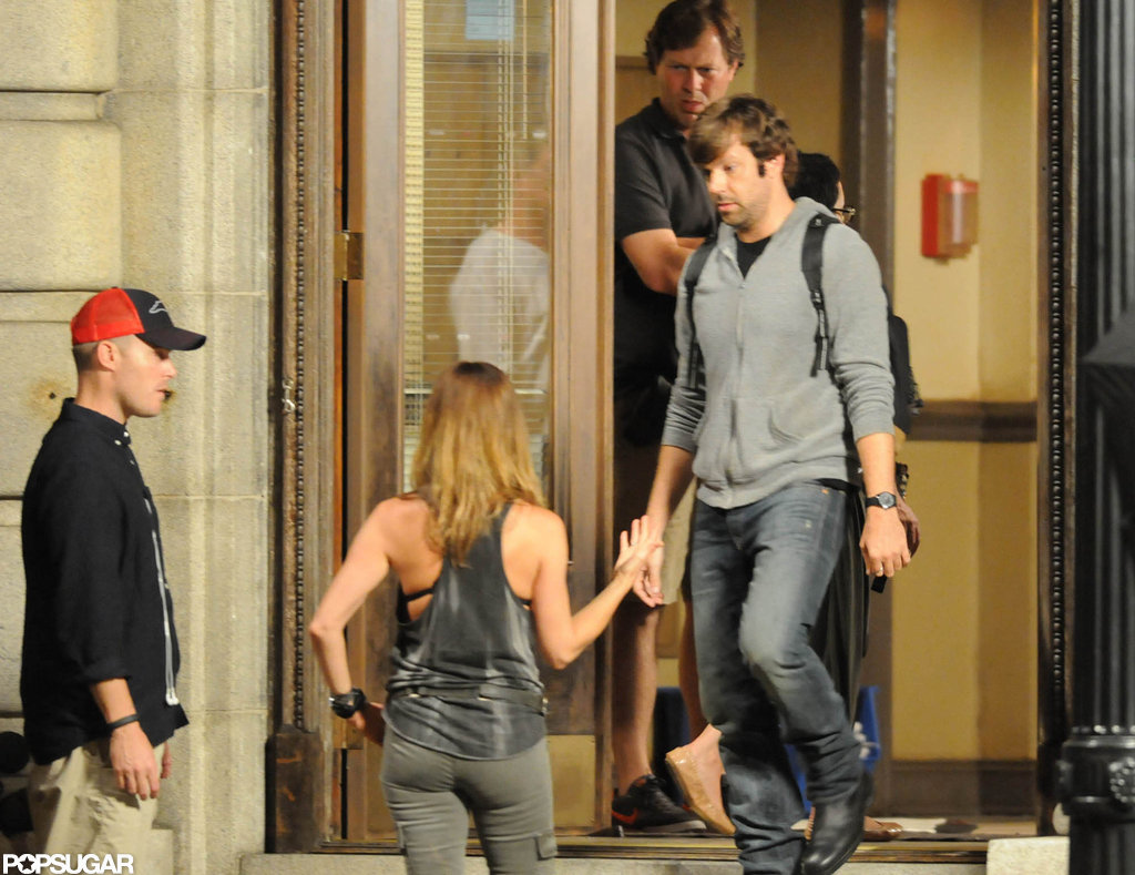 Jennifer Aniston wore a revealing tank top on the set of We're the Millers.