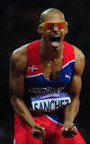 Felix Sanchez of the Dominican Republic was overjoyed after winning the gold medal in the men's 400m hurdles.