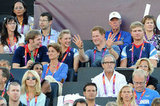 Prince Harry wasn't afraid to goof around while sitting with British Olympians.