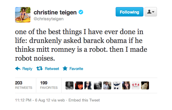 Chrissy has perhaps the best drunk story ever.