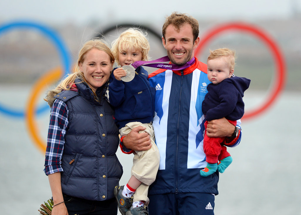 Great Britain's windsurfer Nick Dempsey smiled big with his family after winning silver.