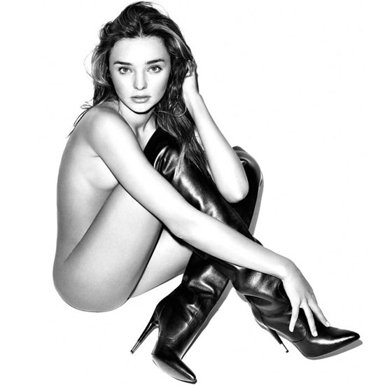Miranda Kerr Wears Boots (and Little Else) in Harper's Bazaar
