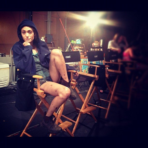 Emmy Rossum posed in character behind the scenes of Shameless. Source: Instagram user emmyrossum