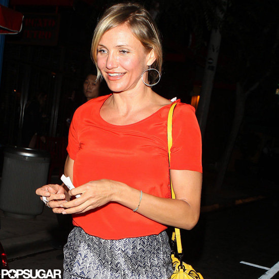 Cameron Diaz wore a bright red shirt.
