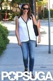 Jennifer Garner wore jeans and a white top.