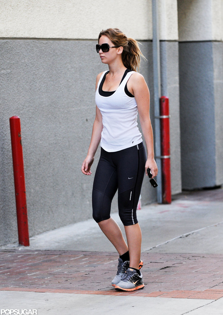 Jennifer Lawrence left the gym after a workout.