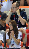 Kate Middleton was without Prince William at the women's teams synchronized swimming event.