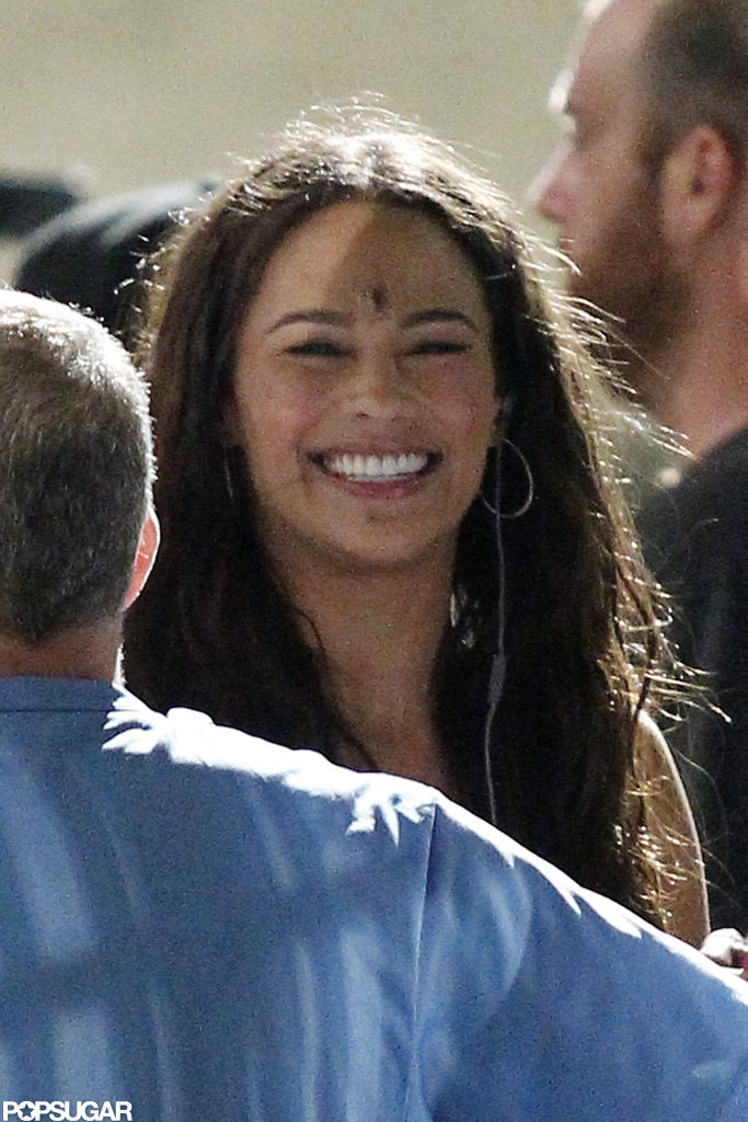 Paula Patton seemed in high spirits between scenes.