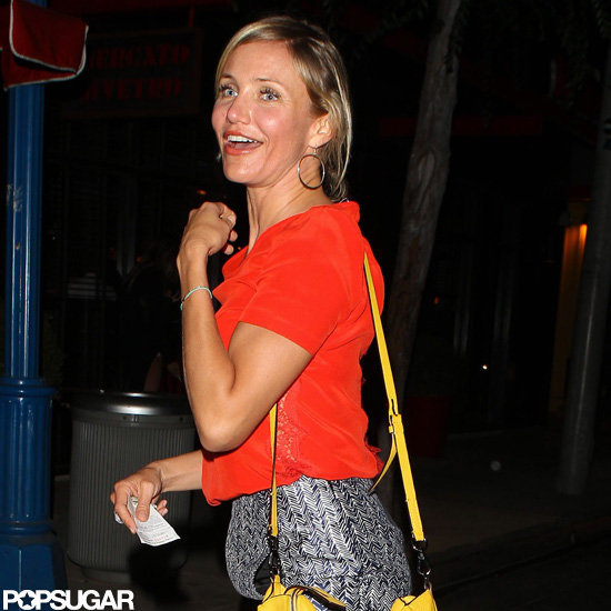 Cameron Diaz smiled after dinner.