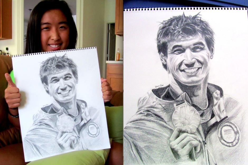 Swimmer Nathan Adrian shared a photo of some amazing fan art.Source: Twitter user Nathangadrian
