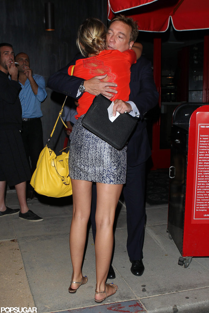 Cameron Diaz hugged a friend.