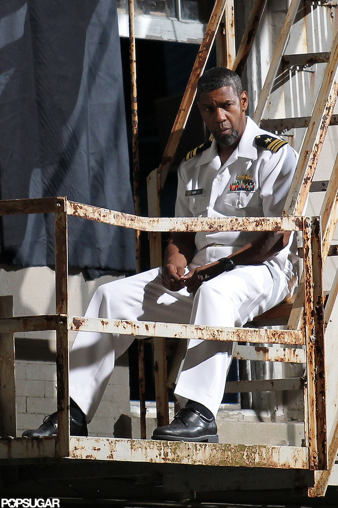 Denzel Washington changed into a Naval uniform on set in New Orleans.