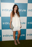 Jordana Brewster was the picture of fresh and pretty in this billowy white eyelet-enhanced LWD. Her nude-toned accents kept the look light and crisp.