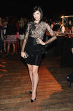 Mad Men's Jessica Paré opted for a sexy lace-infused LBD for the party.