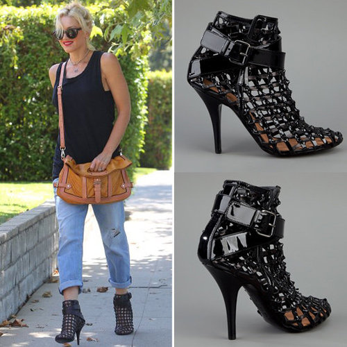 Gwen Stefani Wearing Black Caged Booties