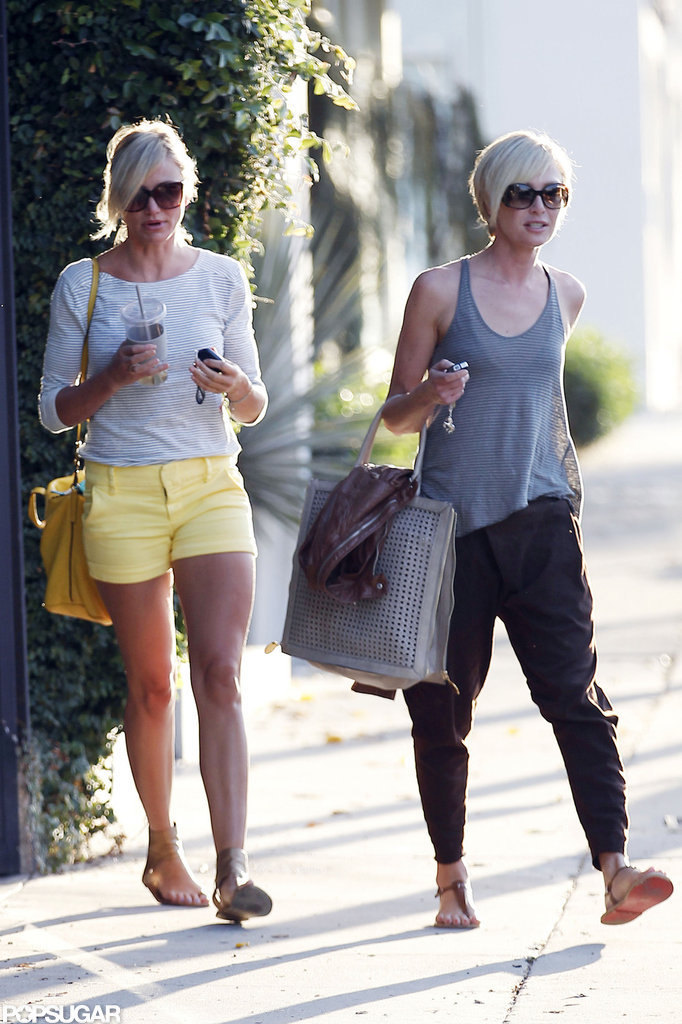 Cameron Diaz and Portia de Rossi hung out at the hair salon in LA.