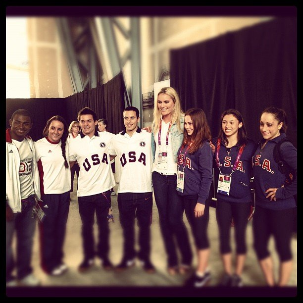 Lindsey Vonn towered over the US Gymnastics Team. Source: Instagram user lindseyvonn
