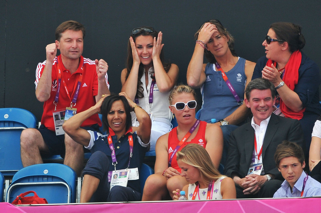 The duchess couldn't contain her excitement during the women's field hockey bronze medal match between New Zealand and Great Britain.