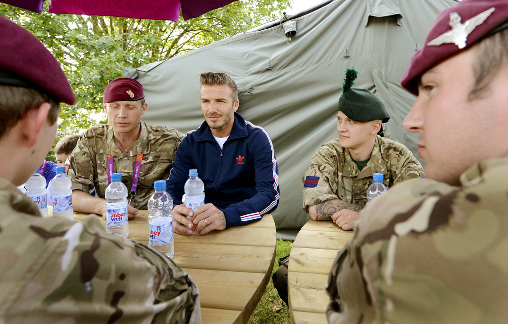 David Beckham met with members of the security team.