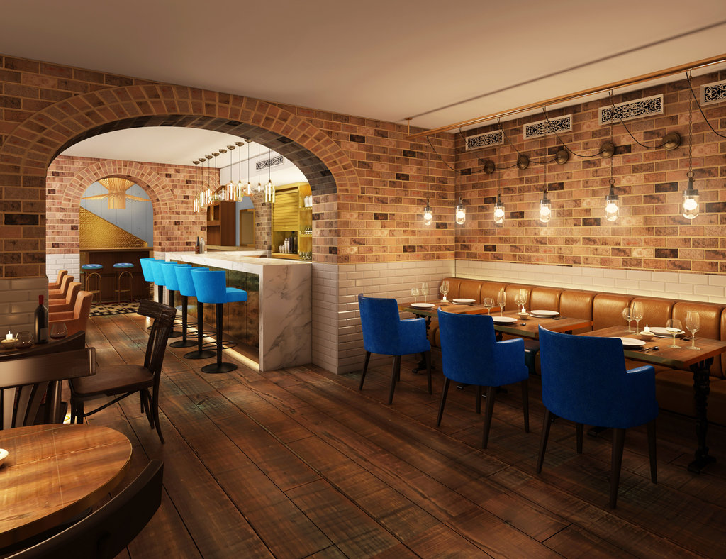 The hotel's restaurant, Apero, mixes white subway tiles, brick, and marble for a chic, casual look. The menu focuses on Mediterranean-inspired dishes and fresh, simple, natural ingredients.