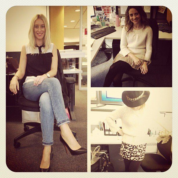 Clockwise from left, Alison wears Zara jeans & heels and Cue top, while Marisa and Ali both wear J.Crew knits! Snap again!