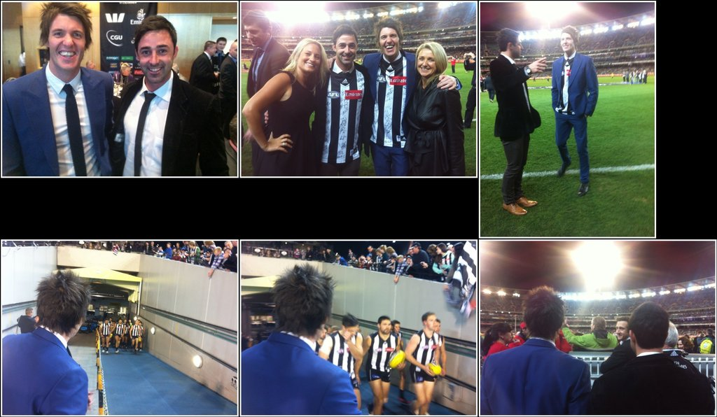 Matt Preston went to a Collingwood Pies game with Andy Allen and Ben Milbourne. Source: Twitter user MattsCravat