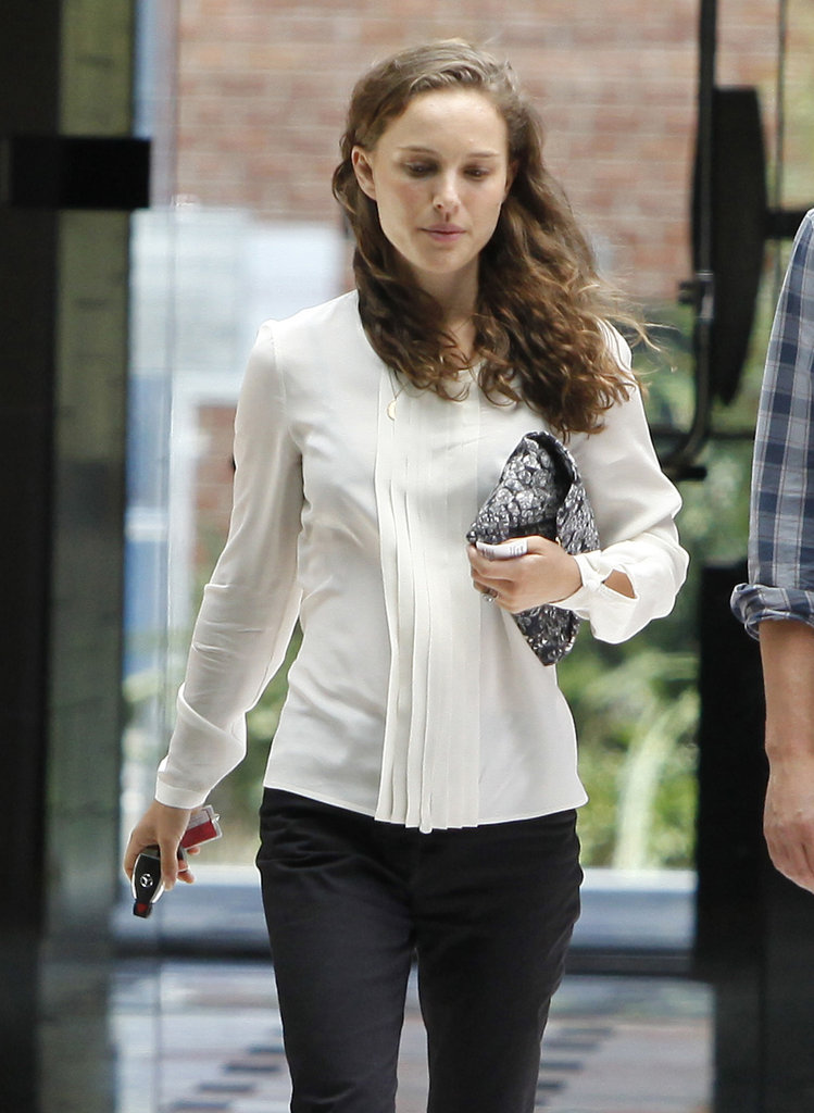 Natalie Portman Wears Her Bridal White to a Meeting