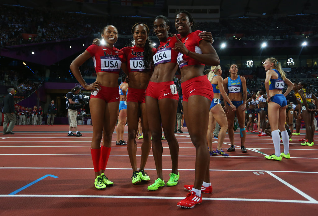 Sanya Richards-Ross, Allyson Felix, Deedee Trotter, and Francena Mccorory were on fire! These four ladies dominated and brought home gold for Team USA in the 4x400-meter relay with a time of 3:16.87; it was a 3.36 lead over Russia's second-place finish.