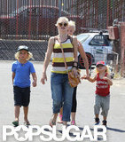 Gwen Stefani walked with Zuma Rossdale and Kingston Rossdale at the beach.