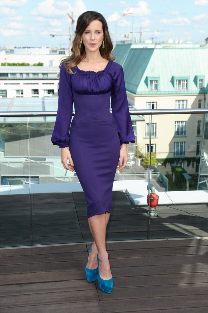 Kate Beckinsale smiled at the Total Recall photocall in Berlin.