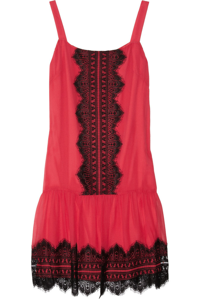 Pair this sexy number with a black blazer and heels for a night out on the town.  Alice by Temperley Laverne Lace-Appliquéd Silk-Chiffon Dress ($335)