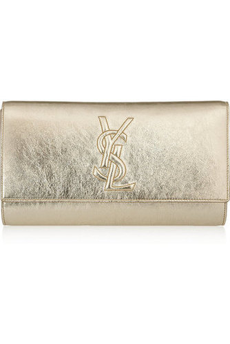 Yves Saint Laurent | Belle Du Jour metallic textured-leather clutch | NET-A-PORTER.COM