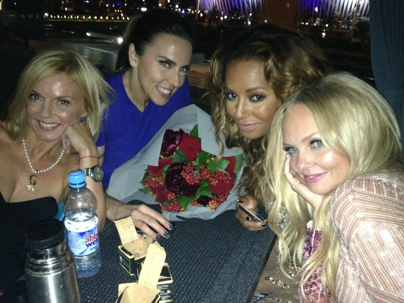 Geri Halliwell, Melanie Chrisholm, Mel B and Emma Bunton partied after performing together at the Olympics closing ceremony. Source: Twitter user EmmaBunton