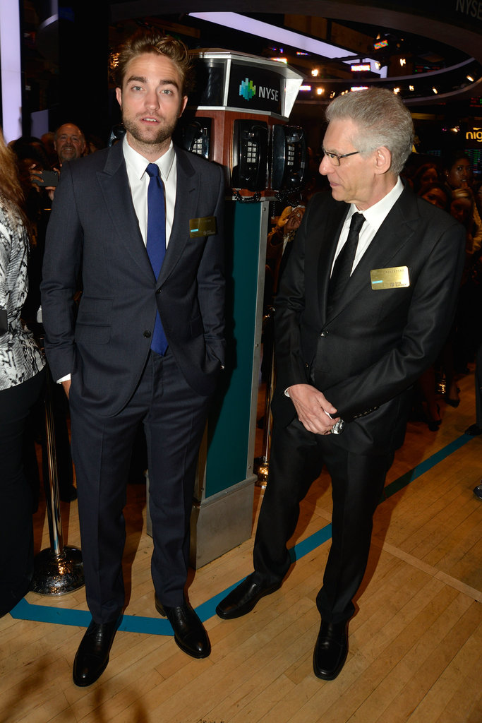 Robert Pattinson and David Cronenberg stepped onto the floor of the New York Stock Exchange.