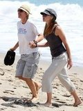 Portia de Rossi and Ellen DeGeneres put their feet in the Malibu sand during an August 2008 afternoon.