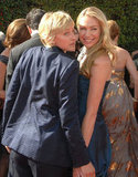 Ellen DeGeneres and Portia de Rossi got goofy on the carpet at the Emmys in September 2007.
