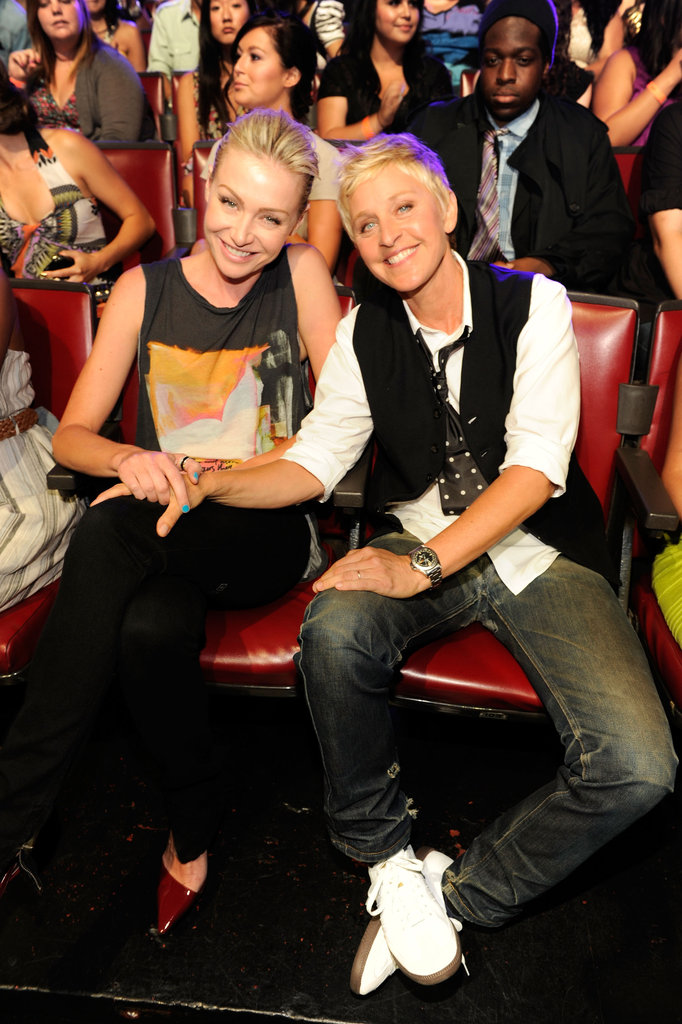 Portia de Rossi and Ellen DeGeneres enjoyed the August 2011 Teen Choice Awards from the front row.