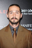 Shia LaBeouf wore a brown suit to the screening of Lawless in NYC.