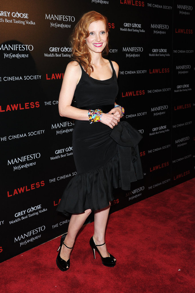 Jessica Chastain wore an LBD to the screening of Lawless in NYC.