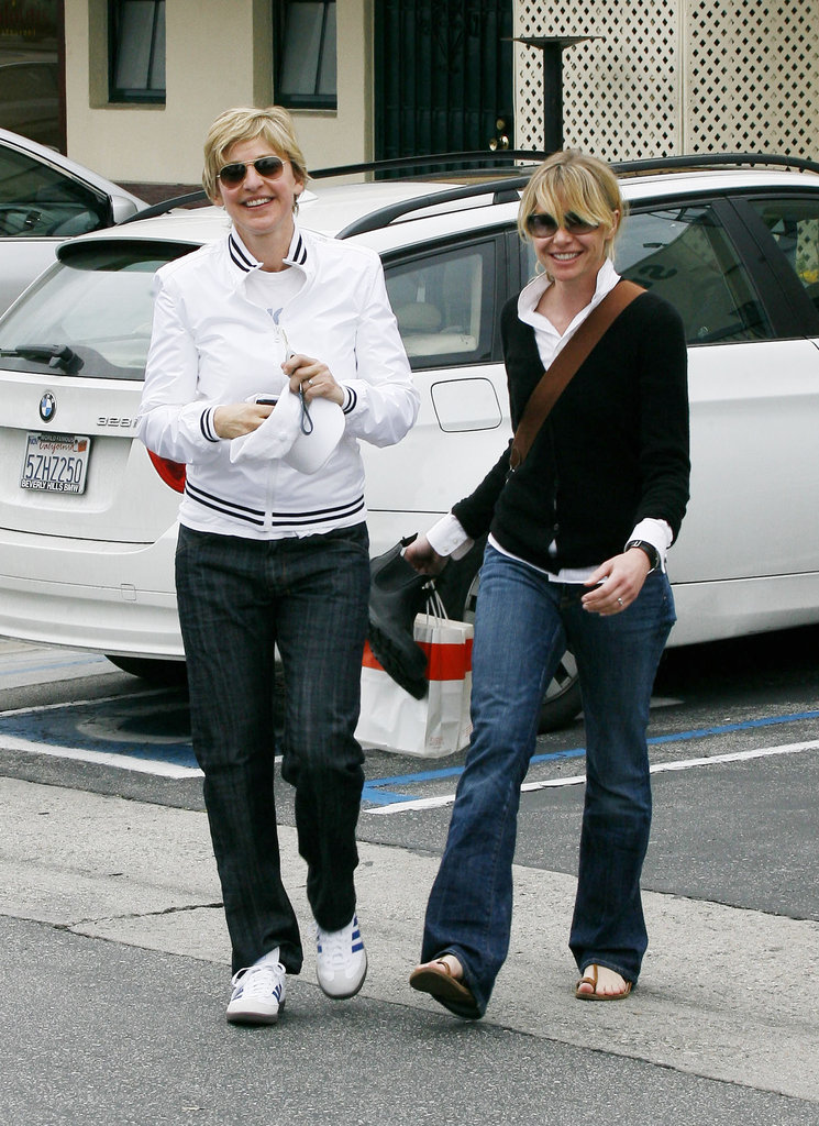 Ellen DeGeneres and Portia de Rossi ran errands in LA side by side in February 2008.