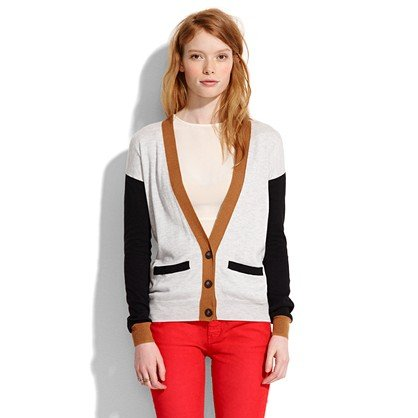 What better way to greet Fall then by donning this chic  Madewell Colorblock Cardigan ($72). It'll keep you warm and the colorblock detailing is super flattering on the arms.  – Colleen Doyle, Editorial Intern