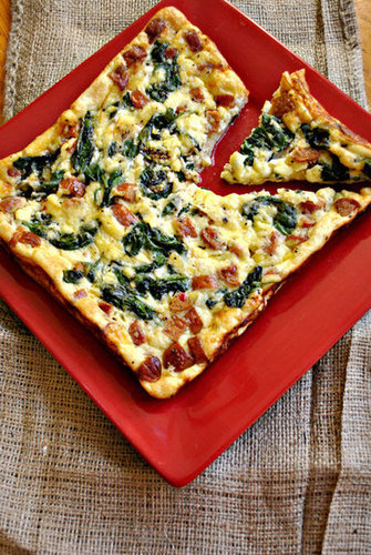 Feta, spinach and sausage crustless quiche
